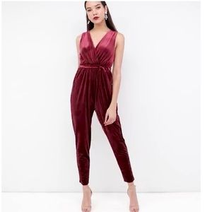 ASOS burgundy velvet sleeveless wrap jumpsuit sz 6